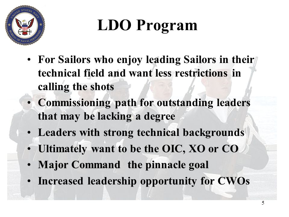 Program Overview The Limited Duty Officer and Chief Warrant Officer Programs provide our Navy with experienced technical specialists and managers who have extensive expertise and authority to direct the most difficult and exacting technical operations at sea and ashore.