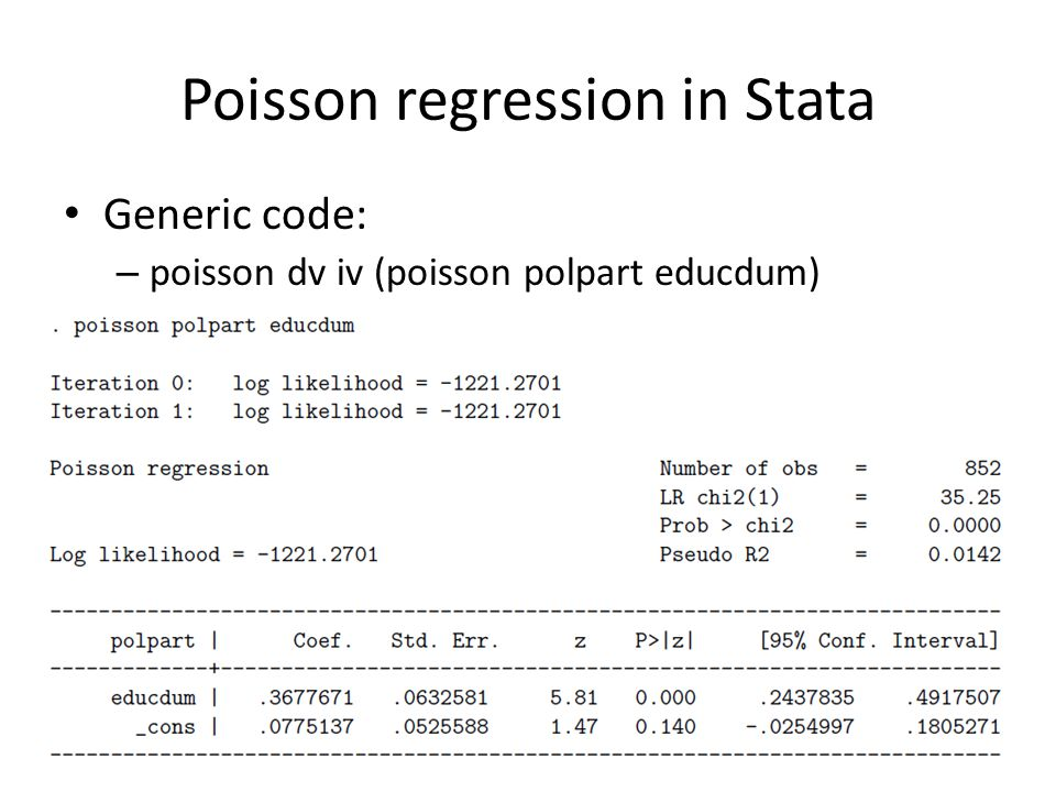 Poisson regression in Stata Generic code: – poisson dv iv (poisson polpart educdum)