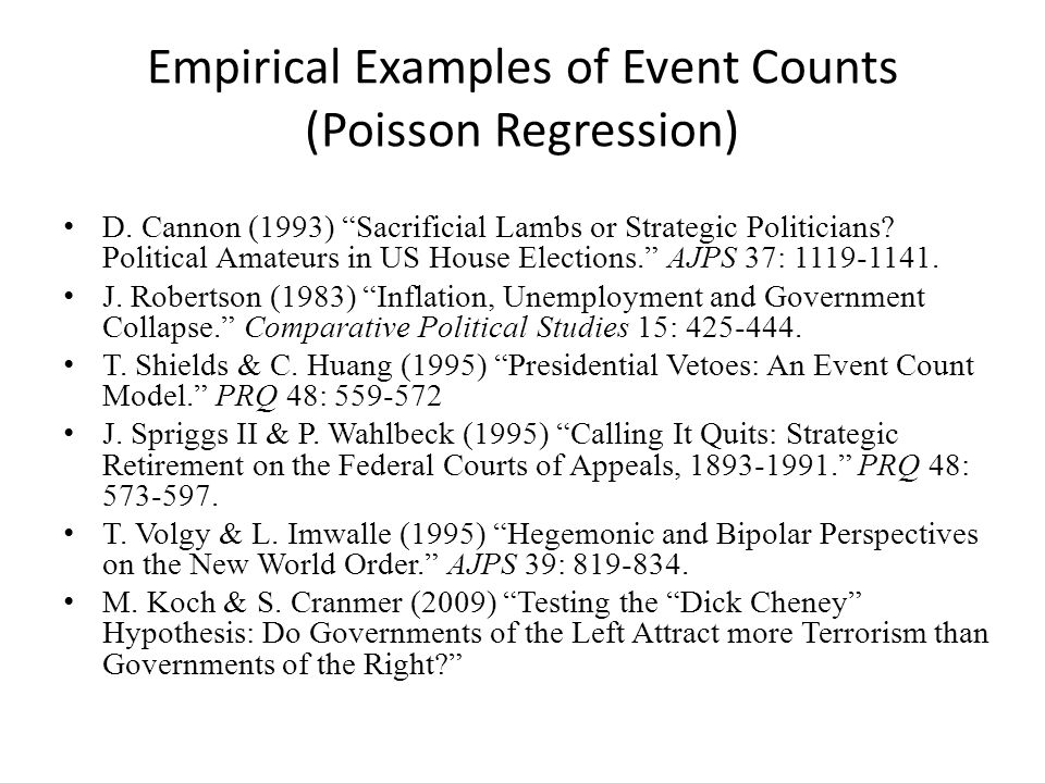 Empirical Examples of Event Counts (Poisson Regression) D.