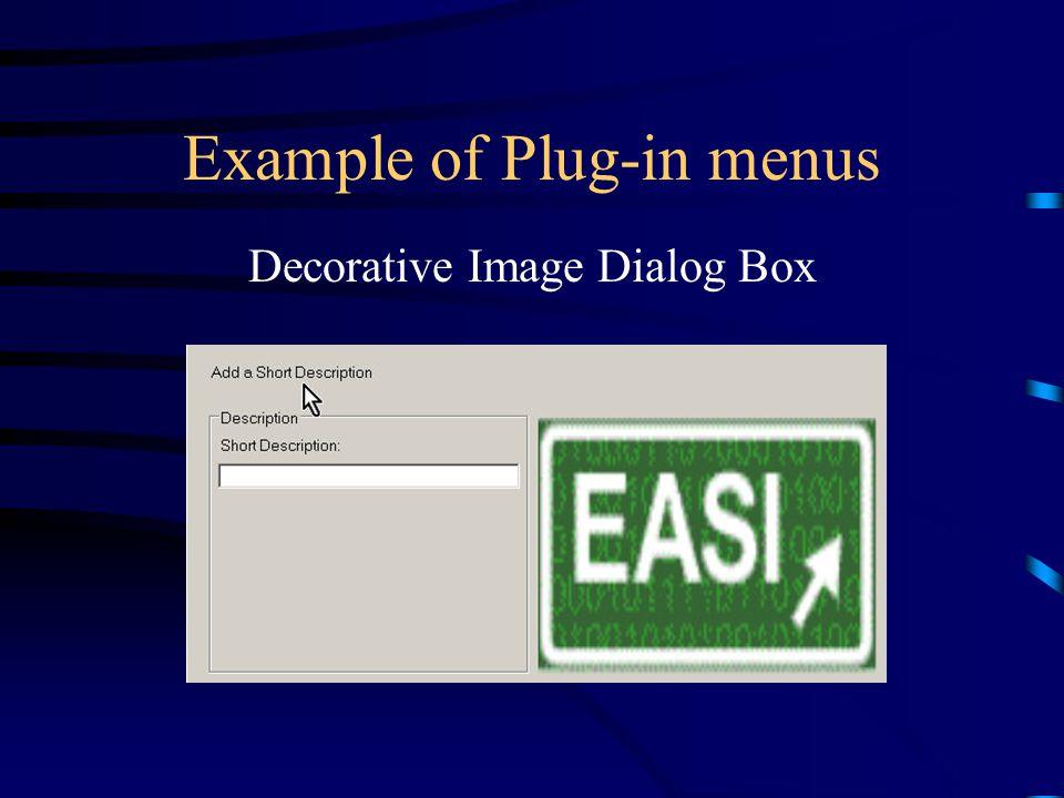 Example of Plug-in menus Decorative Image Dialog Box