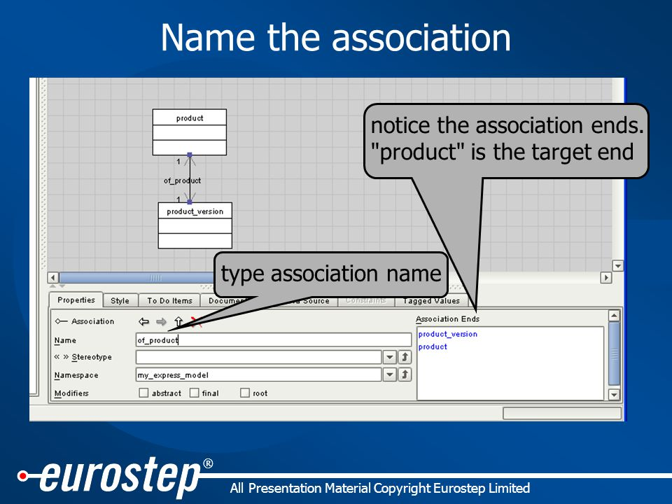 ® All Presentation Material Copyright Eurostep Limited Name the association type association name notice the association ends.