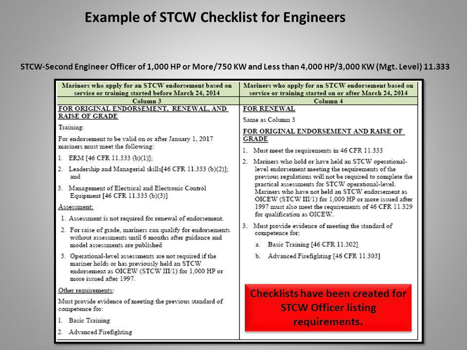 Example of STCW Checklist for Engineers Checklists have been created for STCW Officer listing requirements.