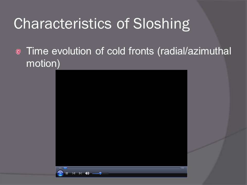 Time evolution of cold fronts (radial/azimuthal motion) Characteristics of Sloshing