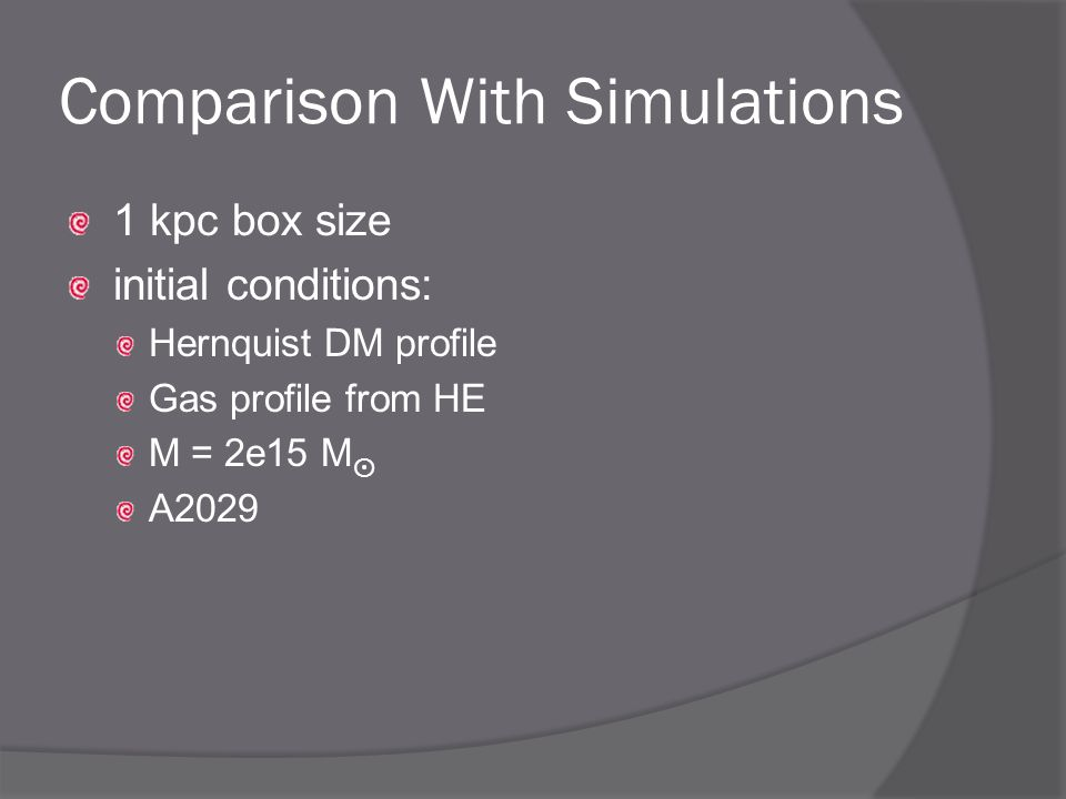 Comparison With Simulations 1 kpc box size initial conditions: Hernquist DM profile Gas profile from HE M = 2e15 M ⨀ A2029
