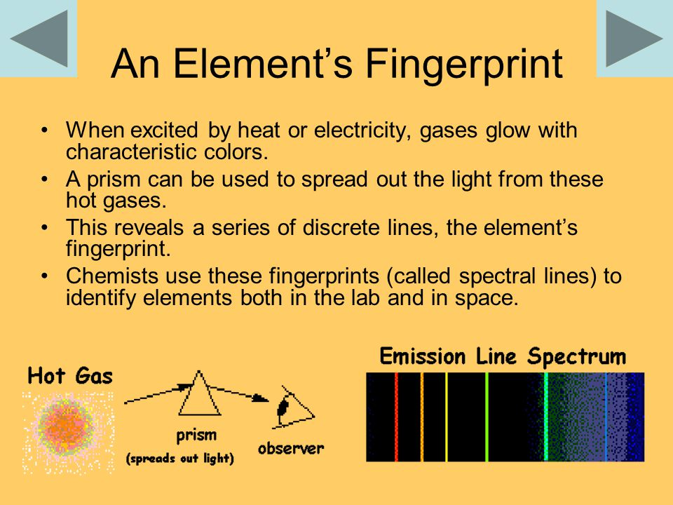 An Element's Fingerprint When excited by heat or electricity, gases glow with characteristic colors.