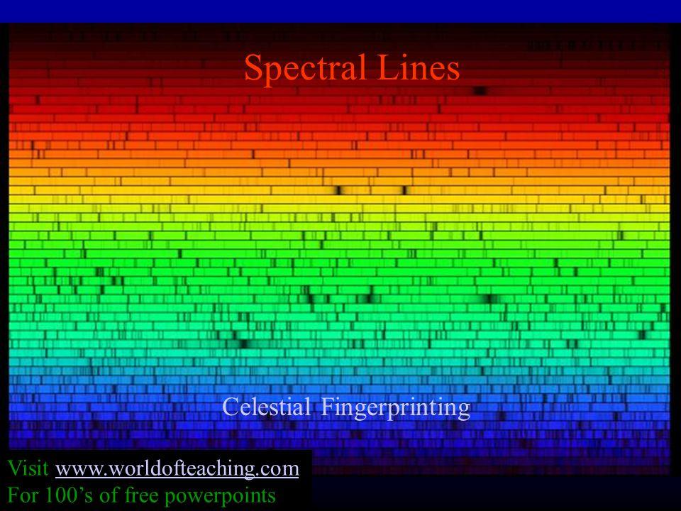 Spectral Lines Celestial Fingerprinting Visit www.worldofteaching.comwww.worldofteaching.com For 100's of free powerpoints