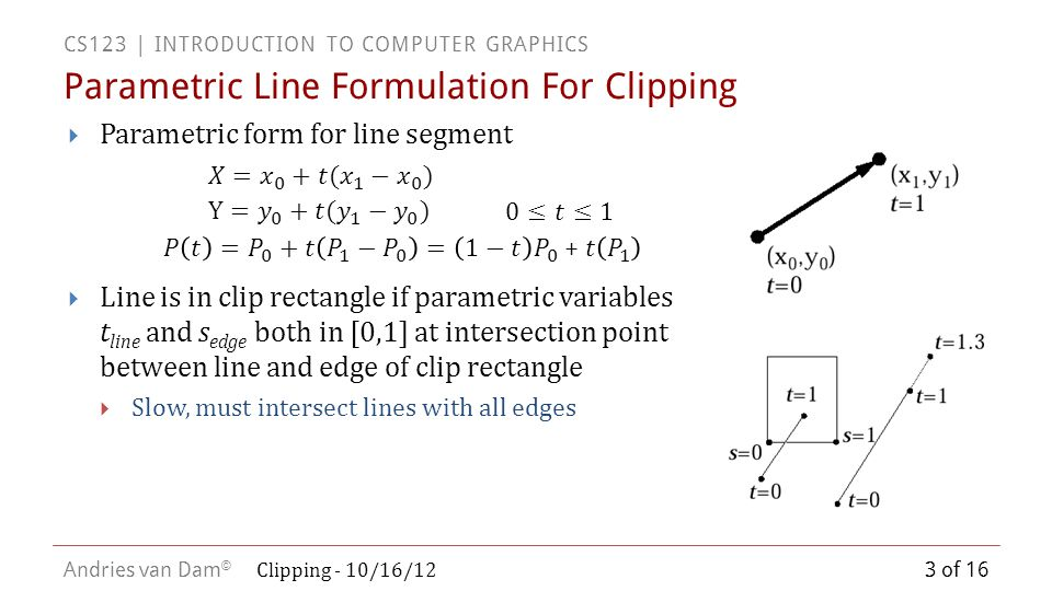 CS123 | INTRODUCTION TO COMPUTER GRAPHICS Andries van Dam ©  Parametric form for line segment  Line is in clip rectangle if parametric variables t line and s edge both in [0,1] at intersection point between line and edge of clip rectangle  Slow, must intersect lines with all edges Parametric Line Formulation For Clipping 3 of 16 Clipping - 10/16/12