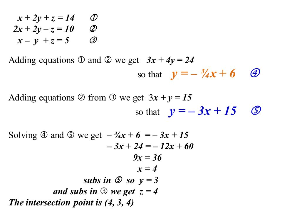 x + 2y + z = 14  2x + 2y – z = 10  x – y + z = 5  Adding equations  and  we get 3x + 4y = 24 so that y = – ¾x + 6  Adding equations  from  we