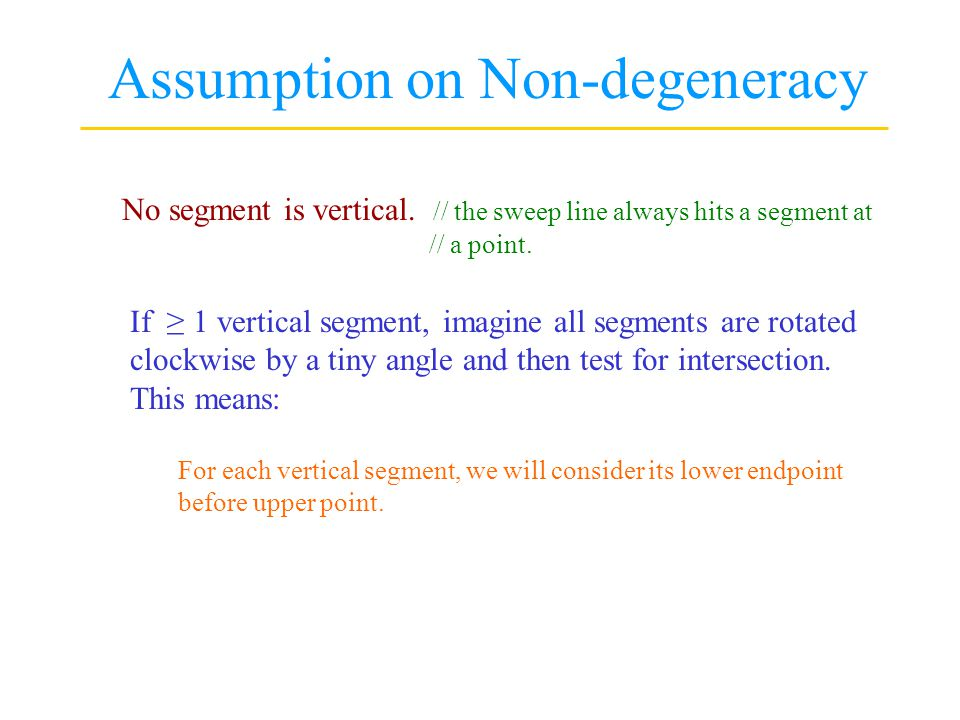 Assumption on Non-degeneracy No segment is vertical.