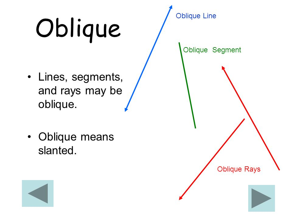 Oblique Lines, segments, and rays may be oblique.Oblique means slanted.