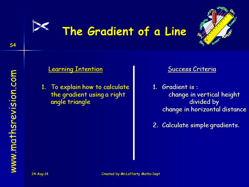 24-Aug-14Created by Mr.Lafferty Maths Dept www.mathsrevision.com The Gradient Change in vertical height Change in horizontal distance The gradient is the measure of steepness of a line The steeper a line the bigger the gradient Difference in x -coordinates Difference in y -coordinates S4