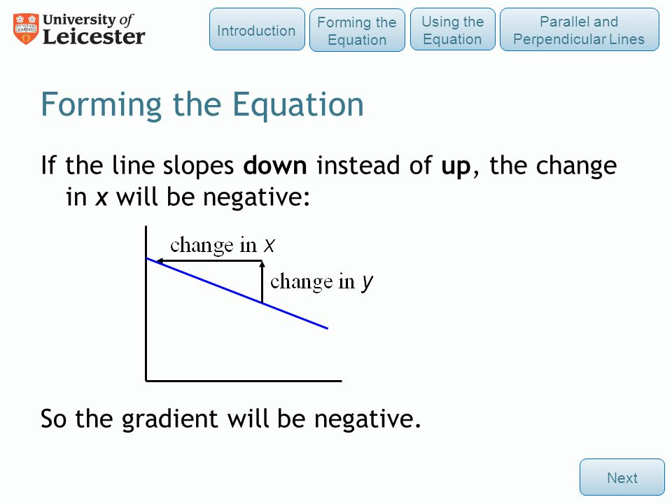 Forming the Equation If the line slopes down instead of up, the change in x will be negative: So the gradient will be negative. Next Using the Equatio