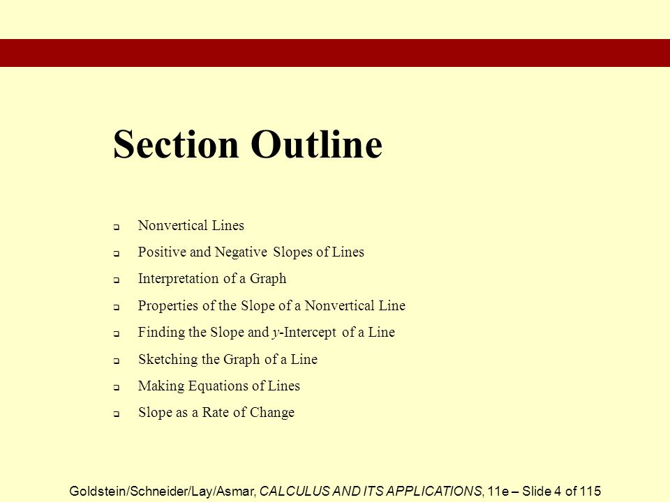 Goldstein/Schneider/Lay/Asmar, CALCULUS AND ITS APPLICATIONS, 11e – Slide 4 of 115  Nonvertical Lines  Positive and Negative Slopes of Lines  Inter
