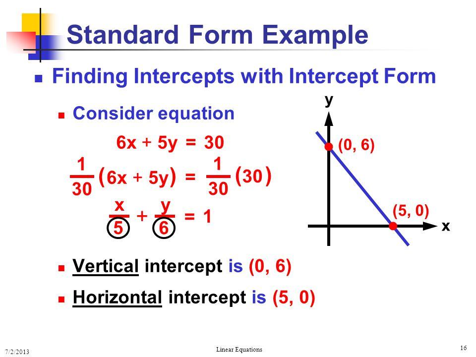 7/2/2013 Linear Equations 16 Finding Intercepts with Intercept Form Consider equation 6x + 5y = 30 Vertical intercept is (0, 6) Horizontal intercept i