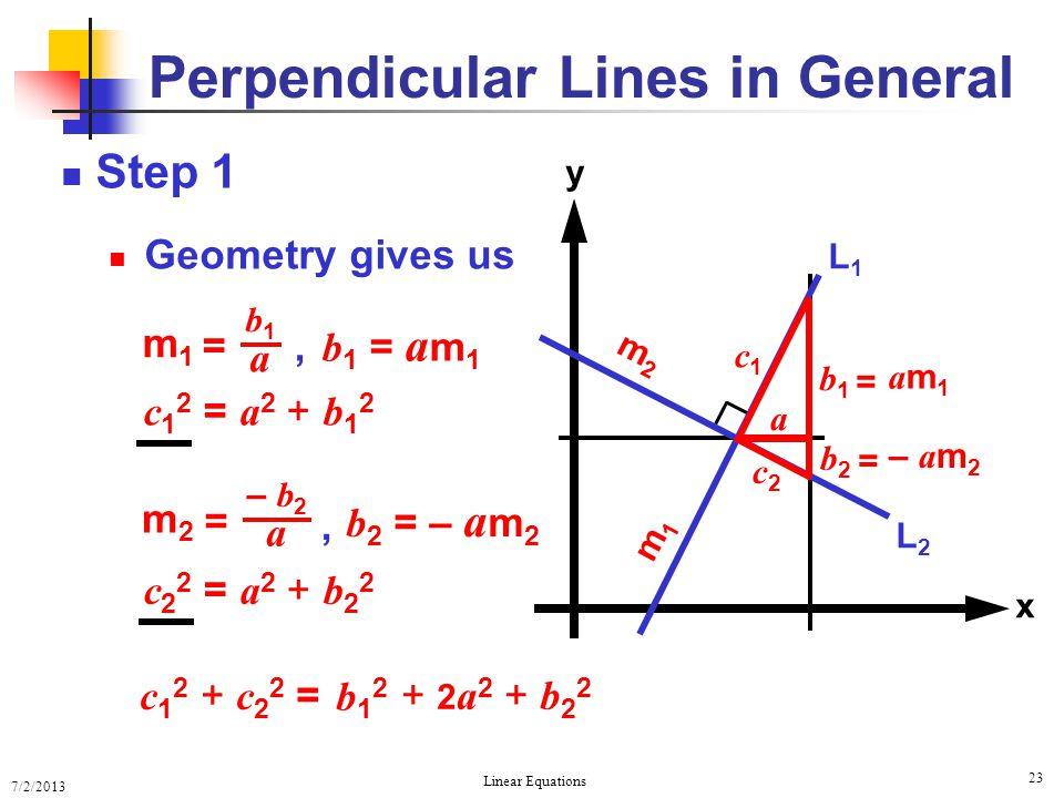 7/2/2013 Linear Equations 23 Step 1 Geometry gives us Perpendicular Lines in General x y L2L2 L1L1 m2m2 m1m1 a c1c1 c2c2 c 1 2 = a 2 + b 1 2 c 2 2 = a