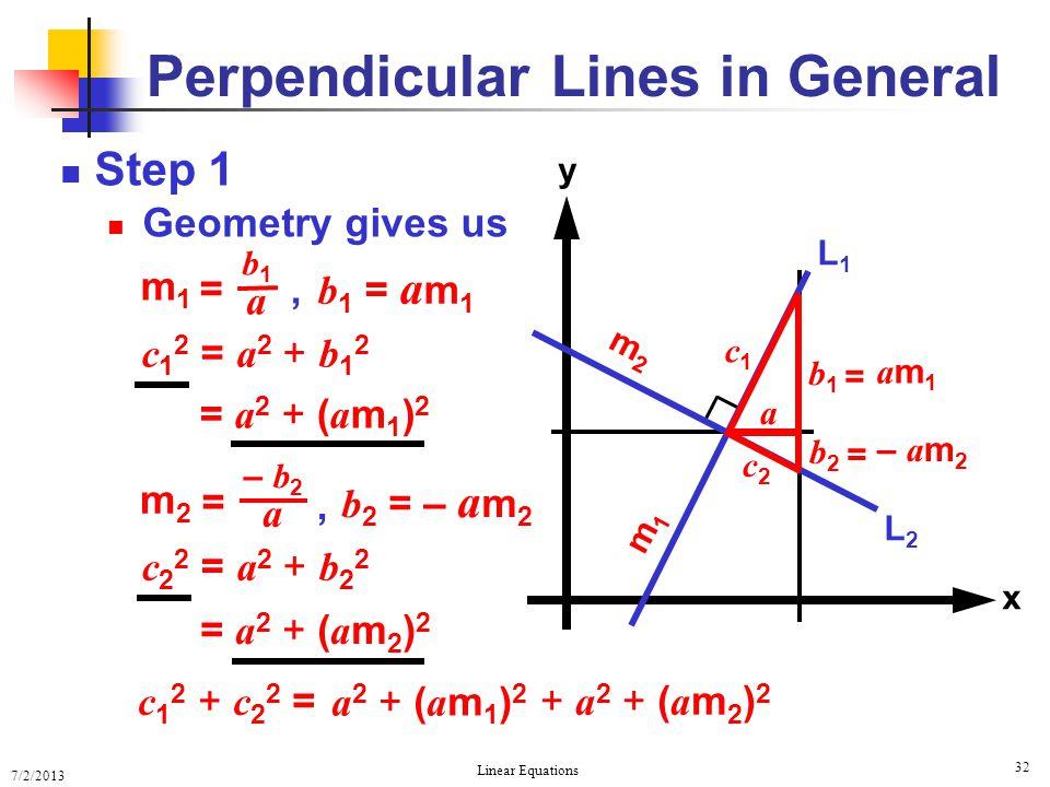 7/2/2013 Linear Equations 32 Step 1 Geometry gives us Perpendicular Lines in General x y L2L2 L1L1 m2m2 m1m1 a c1c1 c2c2 c 1 2 = a 2 + b 1 2 c 2 2 = a
