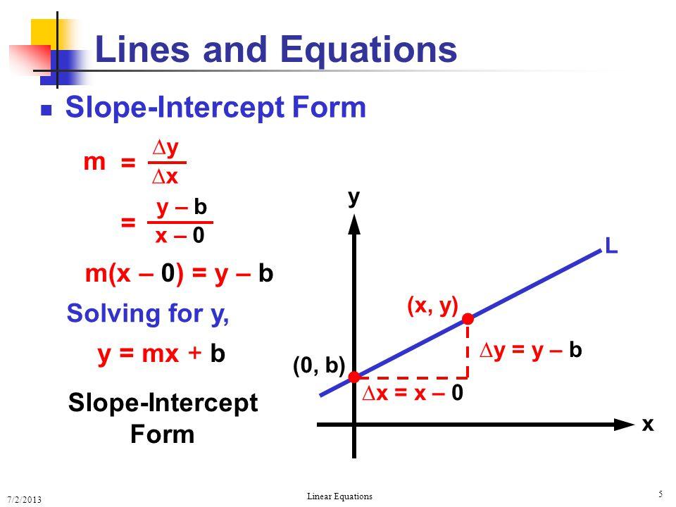7/2/2013 Linear Equations 5 Slope-Intercept Form Lines and Equations y x L   (0, b) (x, y) ∆x = x – 0 ∆y = y – b Slope-Intercept Form m(x – 0) = y –