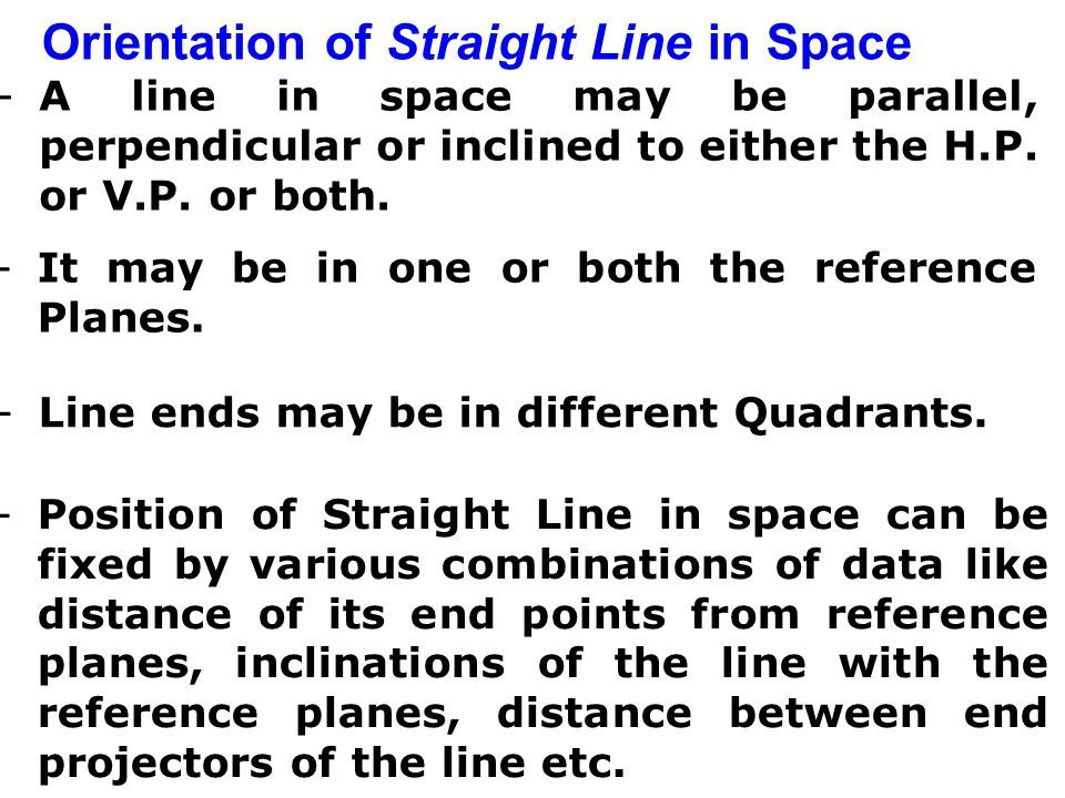 PROJECTIONS OF STRAIGHT LINES Definition of Straight line: A straight line is the shortest distance between two points. -Top views of two end points o
