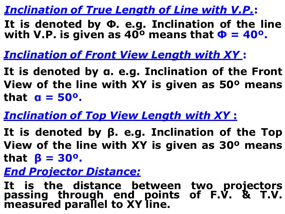 Notatioans used for Straight Line True length of the line: Denoted by Capital letters. e.g. AB=100 mm, means that true length of the line is 100 mm. F