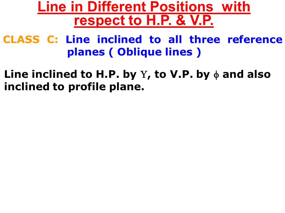 Line in Different Positions with respect to H.P. & V.P. CLASS B: Line parallel to (or in) one reference plane & inclined to other two planes (1) Line