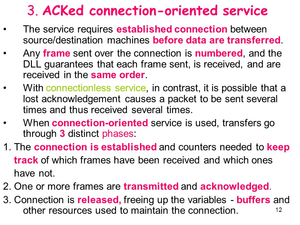 12 3. ACKed connection-oriented service The service requires established connection between source/destination machines before data are transferred. A