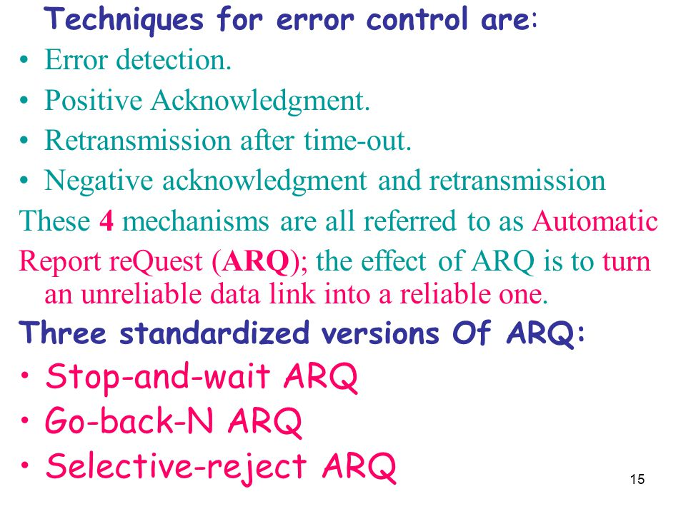 15 Techniques for error control are: Error detection. Positive Acknowledgment. Retransmission after time-out. Negative acknowledgment and retransmissi