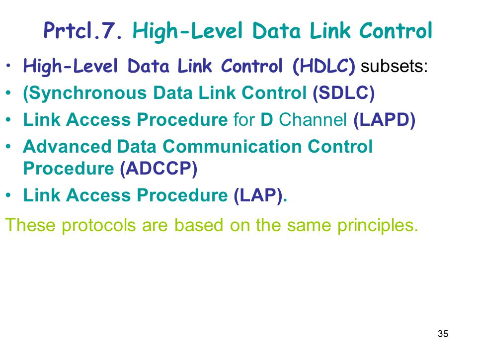 35 Prtcl.7. High-Level Data Link Control High-Level Data Link Control (HDLC) subsets: (Synchronous Data Link Control (SDLC) Link Access Procedure for
