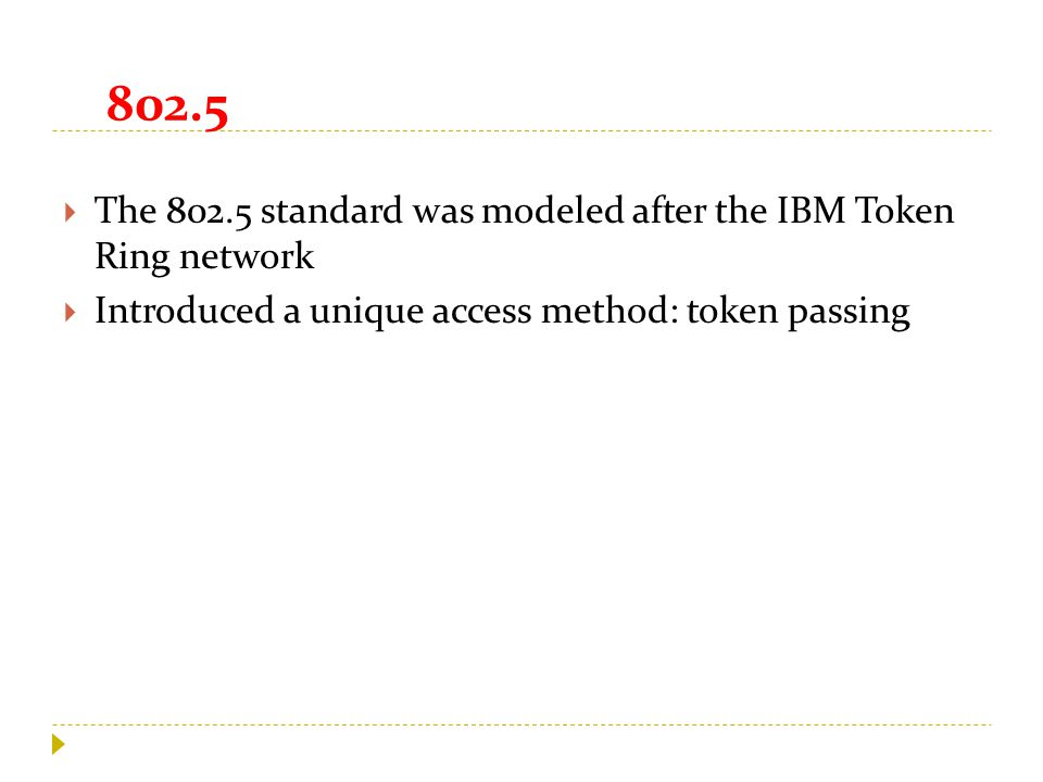 802.5  The 802.5 standard was modeled after the IBM Token Ring network  Introduced a unique access method: token passing