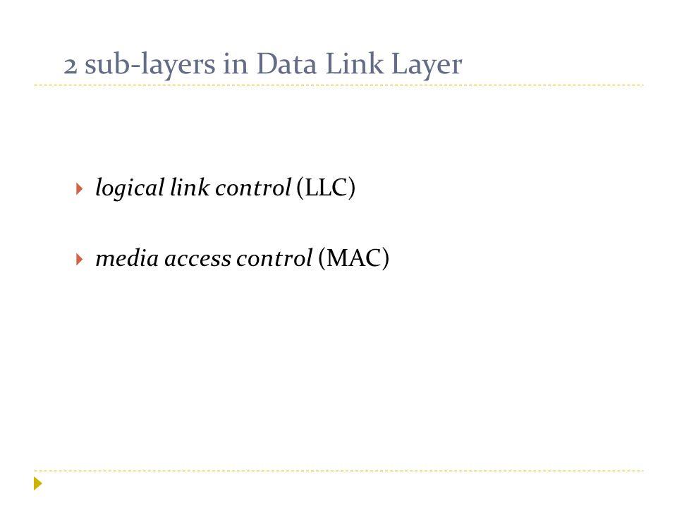 2 sub-layers in Data Link Layer  logical link control (LLC)  media access control (MAC)