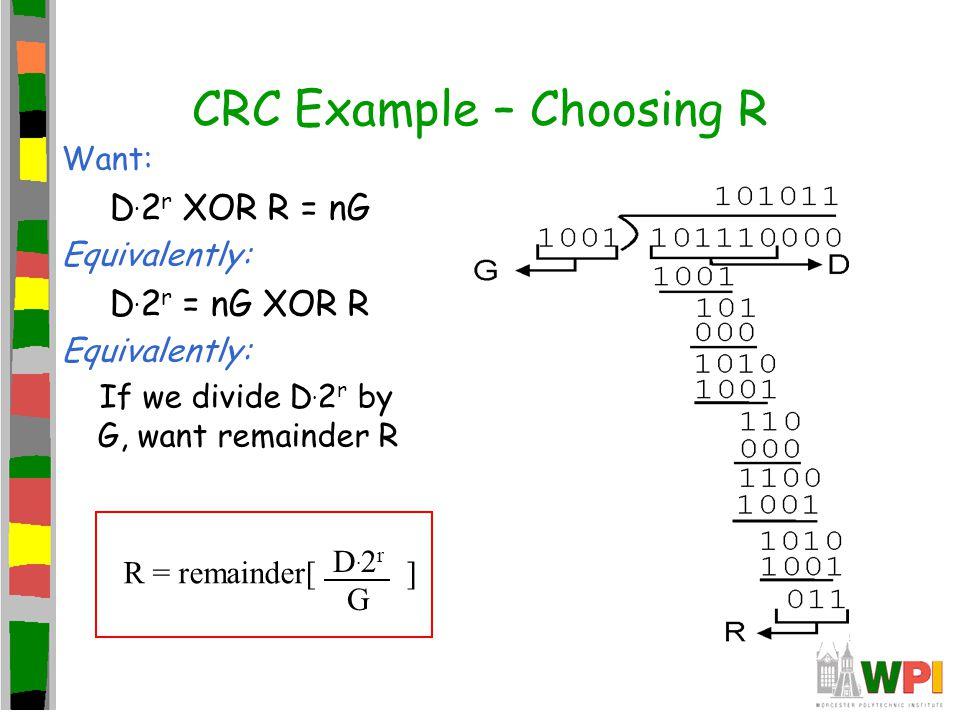 CRC Example – Choosing R Want: D. 2 r XOR R = nG Equivalently: D. 2 r = nG XOR R Equivalently: If we divide D. 2 r by G, want remainder R R = remainde