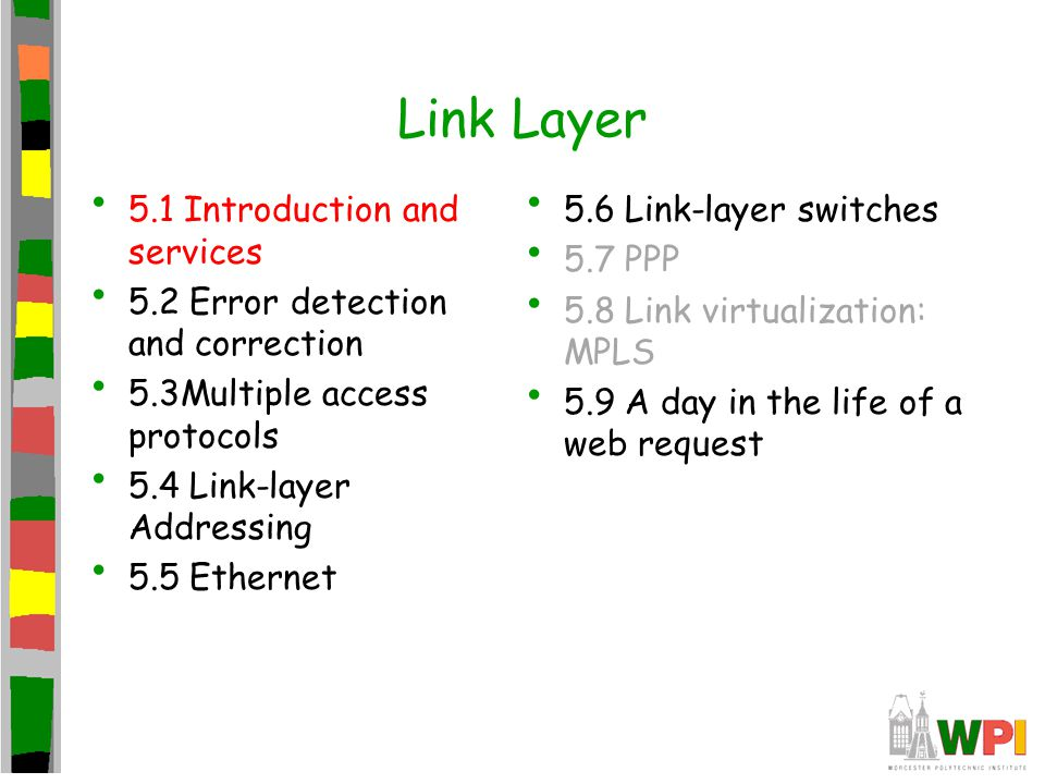 Link Layer 5.1 Introduction and services 5.2 Error detection and correction 5.3Multiple access protocols 5.4 Link-layer Addressing 5.5 Ethernet 5.6 Li