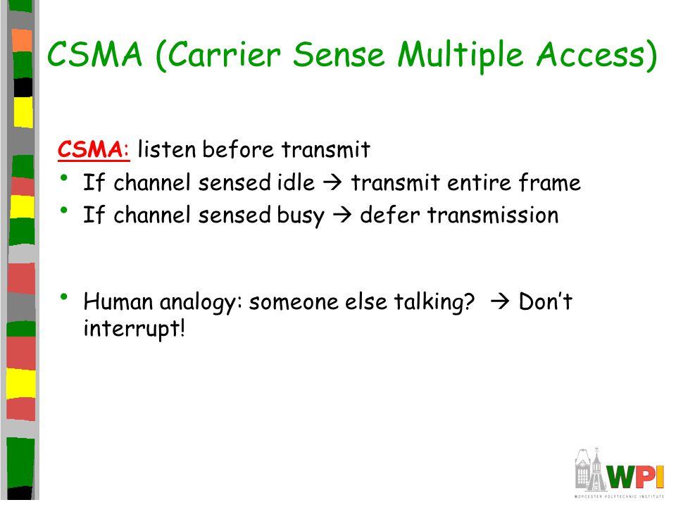 CSMA (Carrier Sense Multiple Access) CSMA: listen before transmit If channel sensed idle  transmit entire frame If channel sensed busy  defer transm