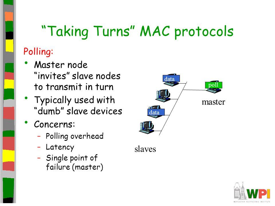 """""""Taking Turns"""" MAC protocols Polling: Master node """"invites"""" slave nodes to transmit in turn Typically used with """"dumb"""" slave devices Concerns: –Pollin"""