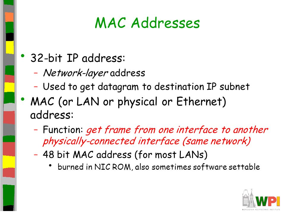 MAC Addresses 32-bit IP address: –Network-layer address –Used to get datagram to destination IP subnet MAC (or LAN or physical or Ethernet) address: –