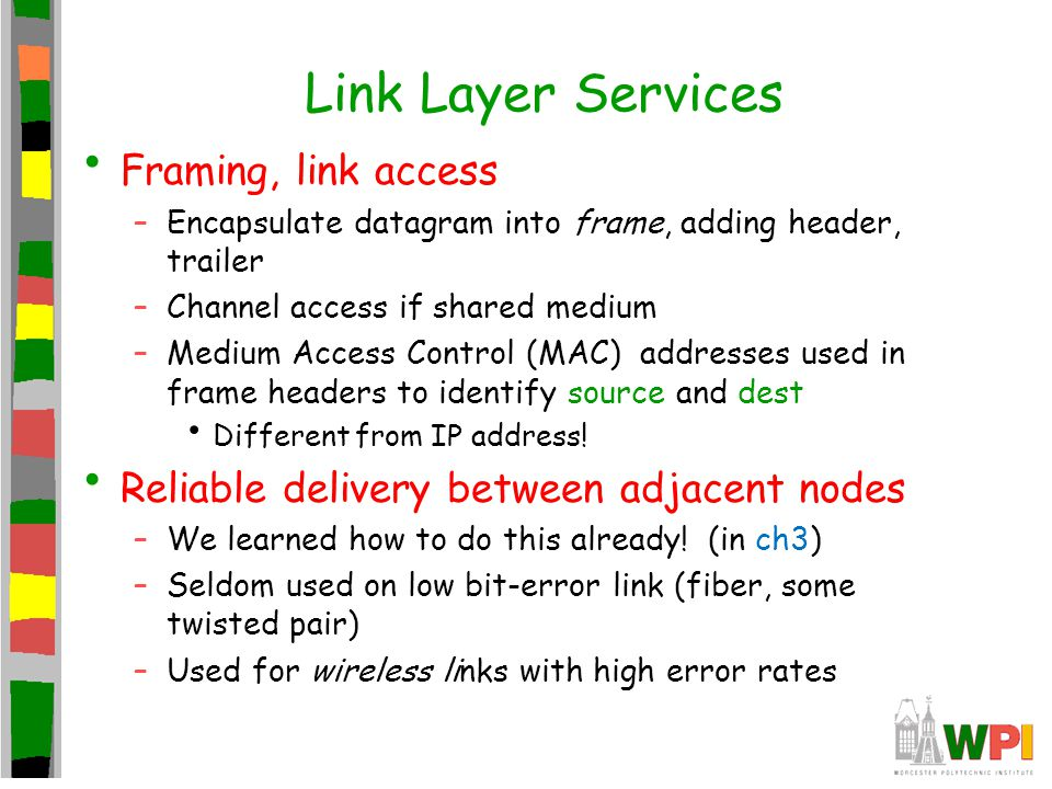 Link Layer Services Framing, link access –Encapsulate datagram into frame, adding header, trailer –Channel access if shared medium –Medium Access Cont