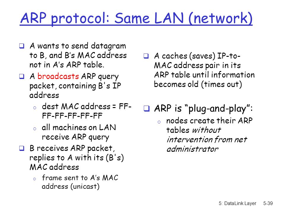 5: DataLink Layer5-39 ARP protocol: Same LAN (network)  A wants to send datagram to B, and B's MAC address not in A's ARP table.  A broadcasts ARP q