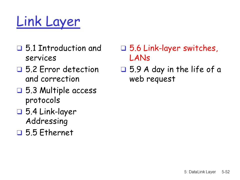 5: DataLink Layer5-52 Link Layer  5.1 Introduction and services  5.2 Error detection and correction  5.3 Multiple access protocols  5.4 Link-layer