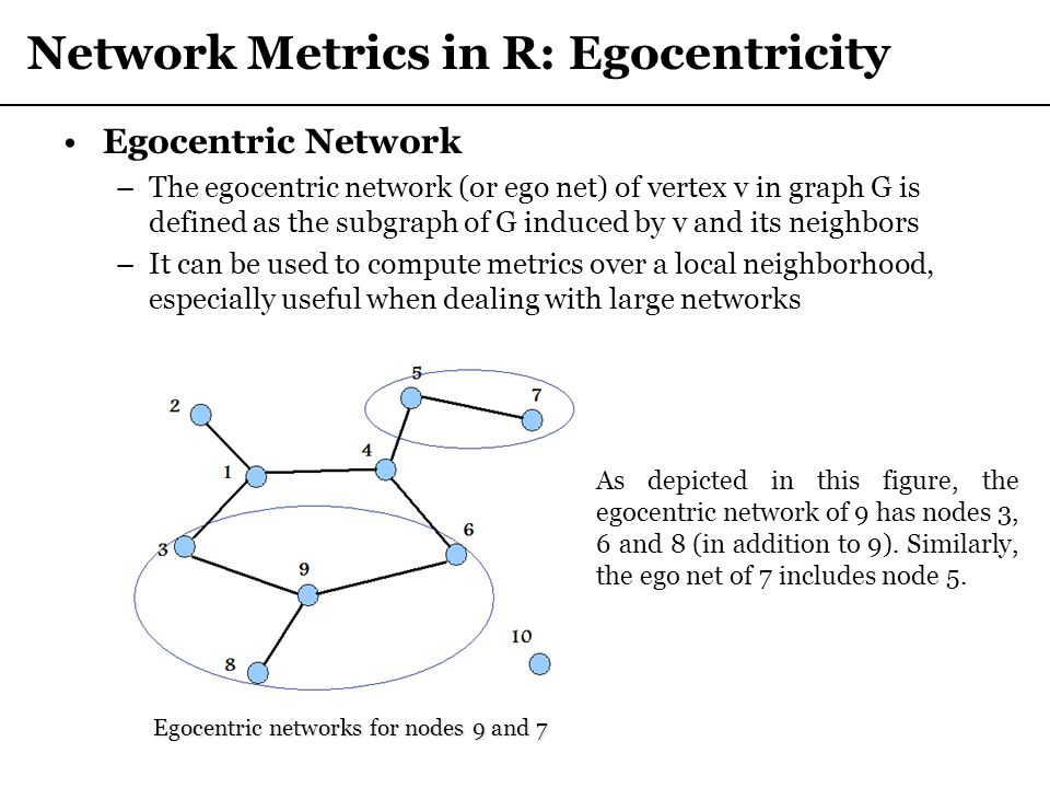 Network Metrics in R: Egocentricity Egocentric Network –The egocentric network (or ego net) of vertex v in graph G is defined as the subgraph of G ind