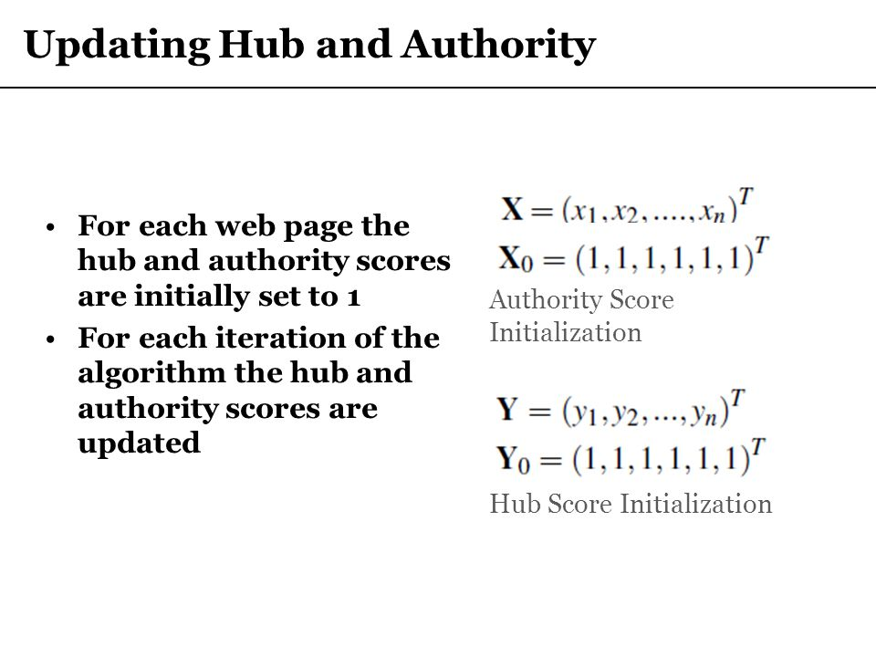 Updating Hub and Authority For each web page the hub and authority scores are initially set to 1 For each iteration of the algorithm the hub and autho