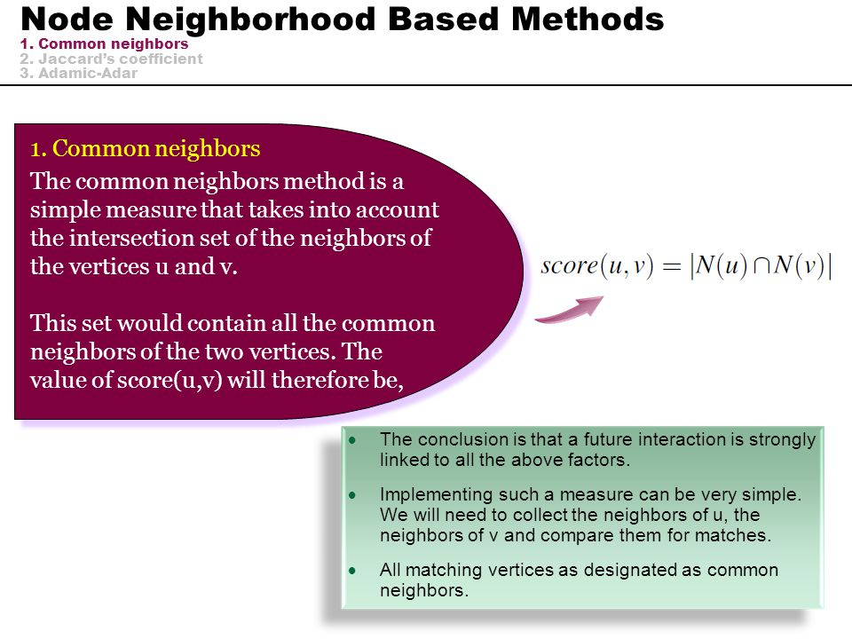 Node Neighborhood Based Methods 1. Common neighbors 2. Jaccard's coefficient 3. Adamic-Adar  The conclusion is that a future interaction is strongly