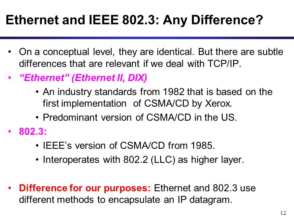 12 Ethernet and IEEE 802.3: Any Difference. On a conceptual level, they are identical.