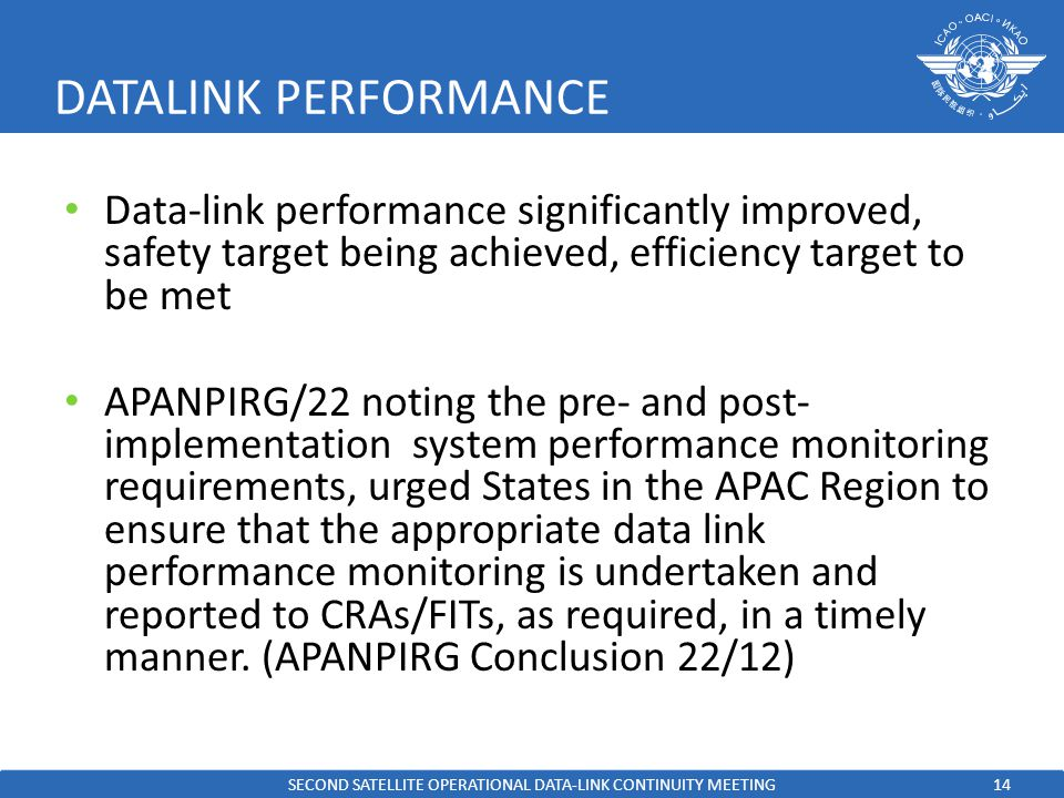 14 DATALINK PERFORMANCE Data-link performance significantly improved, safety target being achieved, efficiency target to be met APANPIRG/22 noting the pre- and post- implementation system performance monitoring requirements, urged States in the APAC Region to ensure that the appropriate data link performance monitoring is undertaken and reported to CRAs/FITs, as required, in a timely manner.