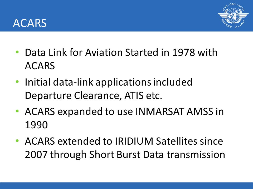 ACARS Data Link for Aviation Started in 1978 with ACARS Initial data-link applications included Departure Clearance, ATIS etc.