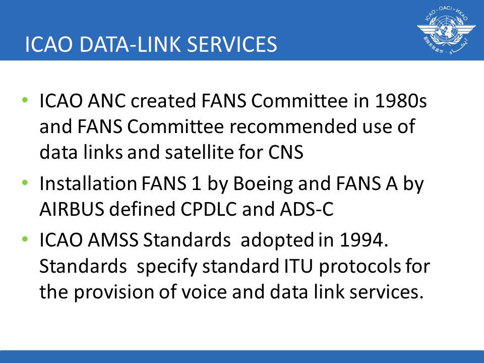 ICAO DATA-LINK SERVICES ICAO ANC created FANS Committee in 1980s and FANS Committee recommended use of data links and satellite for CNS Installation FANS 1 by Boeing and FANS A by AIRBUS defined CPDLC and ADS-C ICAO AMSS Standards adopted in 1994.
