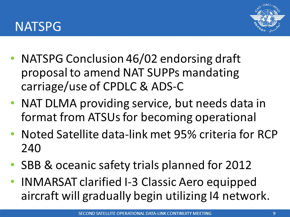 9 NATSPG NATSPG Conclusion 46/02 endorsing draft proposal to amend NAT SUPPs mandating carriage/use of CPDLC & ADS-C NAT DLMA providing service, but needs data in format from ATSUs for becoming operational Noted Satellite data-link met 95% criteria for RCP 240 SBB & oceanic safety trials planned for 2012 INMARSAT clarified I-3 Classic Aero equipped aircraft will gradually begin utilizing I4 network.