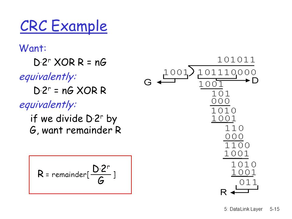 5: DataLink Layer5-15 CRC Example Want: D. 2 r XOR R = nG equivalently: D. 2 r = nG XOR R equivalently: if we divide D. 2 r by G, want remainder R R =