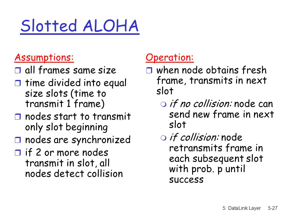 5: DataLink Layer5-27 Slotted ALOHA Assumptions: r all frames same size r time divided into equal size slots (time to transmit 1 frame) r nodes start