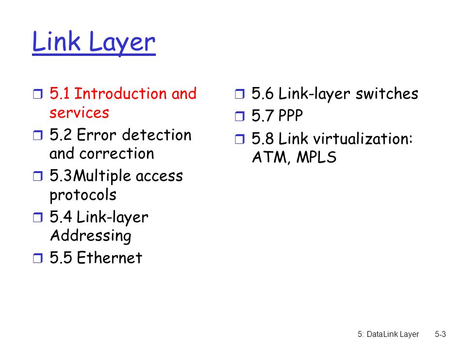 5: DataLink Layer5-94 ATM architecture r adaptation layer: only at edge of ATM network m data segmentation/reassembly m roughly analagous to Internet transport layer r ATM layer: network layer m cell switching, routing r physical layer physical ATM AAL physical ATM AAL physical ATM physical ATM end system switch