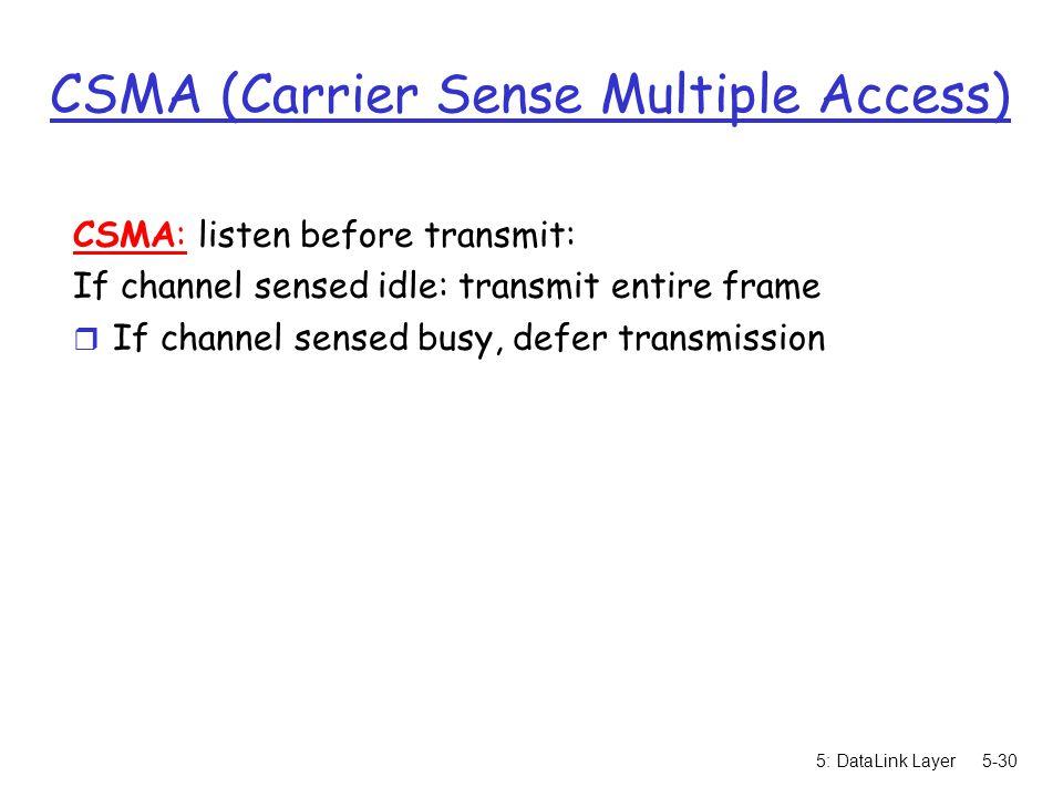5: DataLink Layer5-30 CSMA (Carrier Sense Multiple Access) CSMA: listen before transmit: If channel sensed idle: transmit entire frame r If channel se