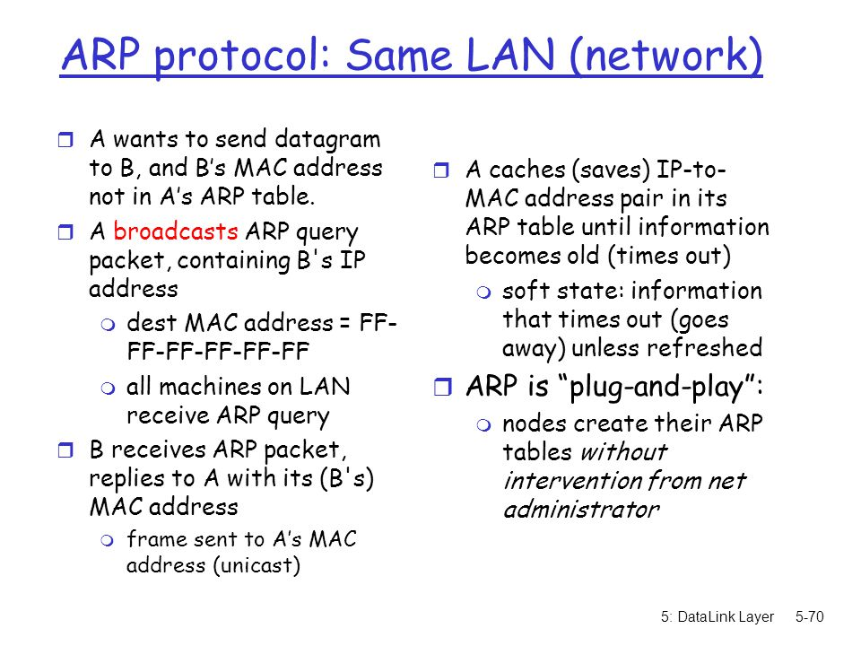 5: DataLink Layer5-70 ARP protocol: Same LAN (network) r A wants to send datagram to B, and B's MAC address not in A's ARP table. r A broadcasts ARP q